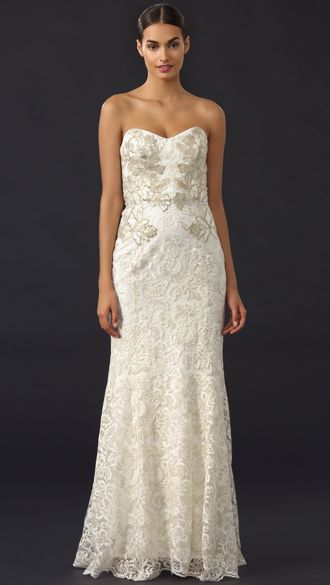 Notte by marchesa Metallic Lace Mermaid Gown Ivory in