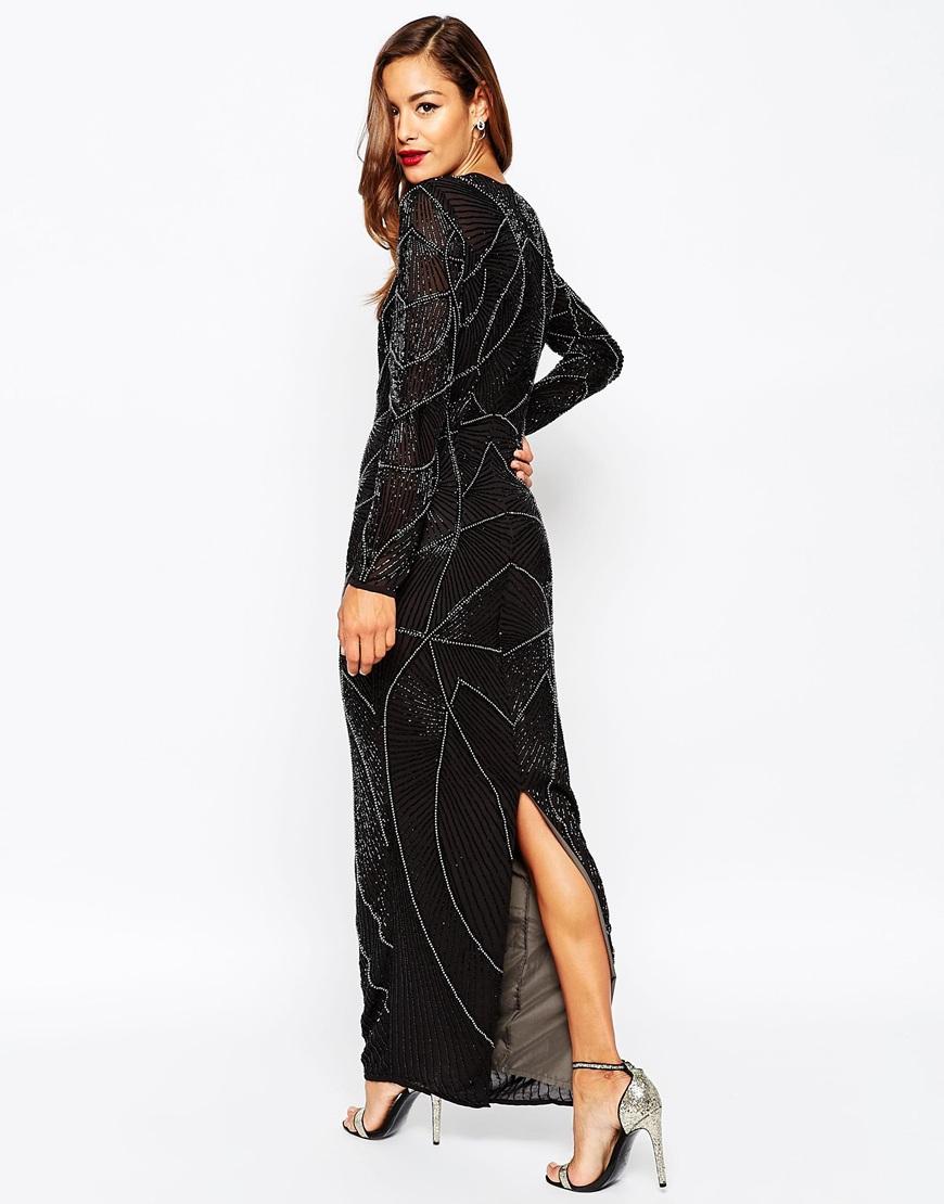 Asos Red Carpet Delicate 20s Beaded Long Sleeve Maxi Dress