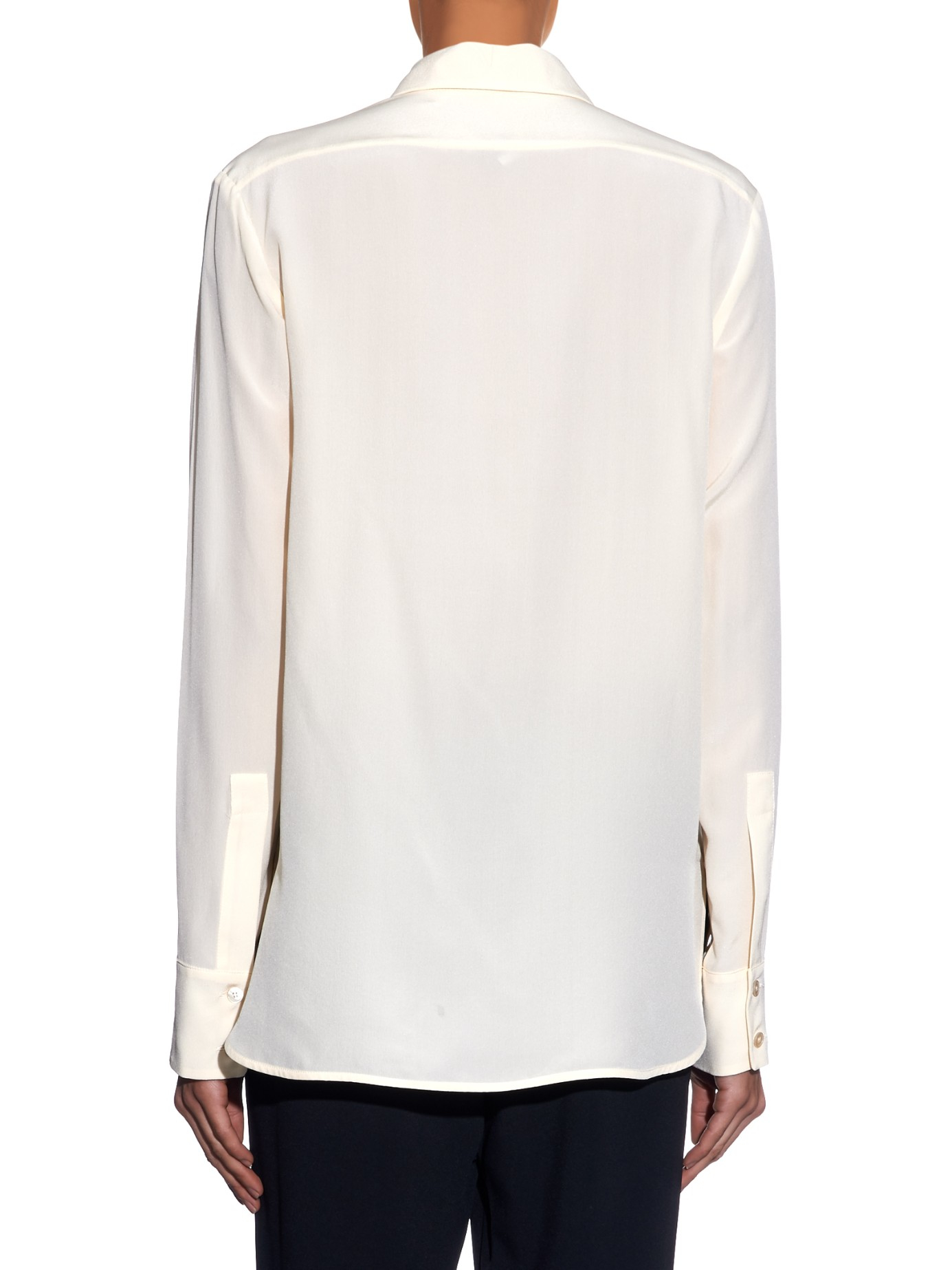 5b516dfe5a81b Lyst - Stella McCartney Arlo Embroidered Silk Blouse in White