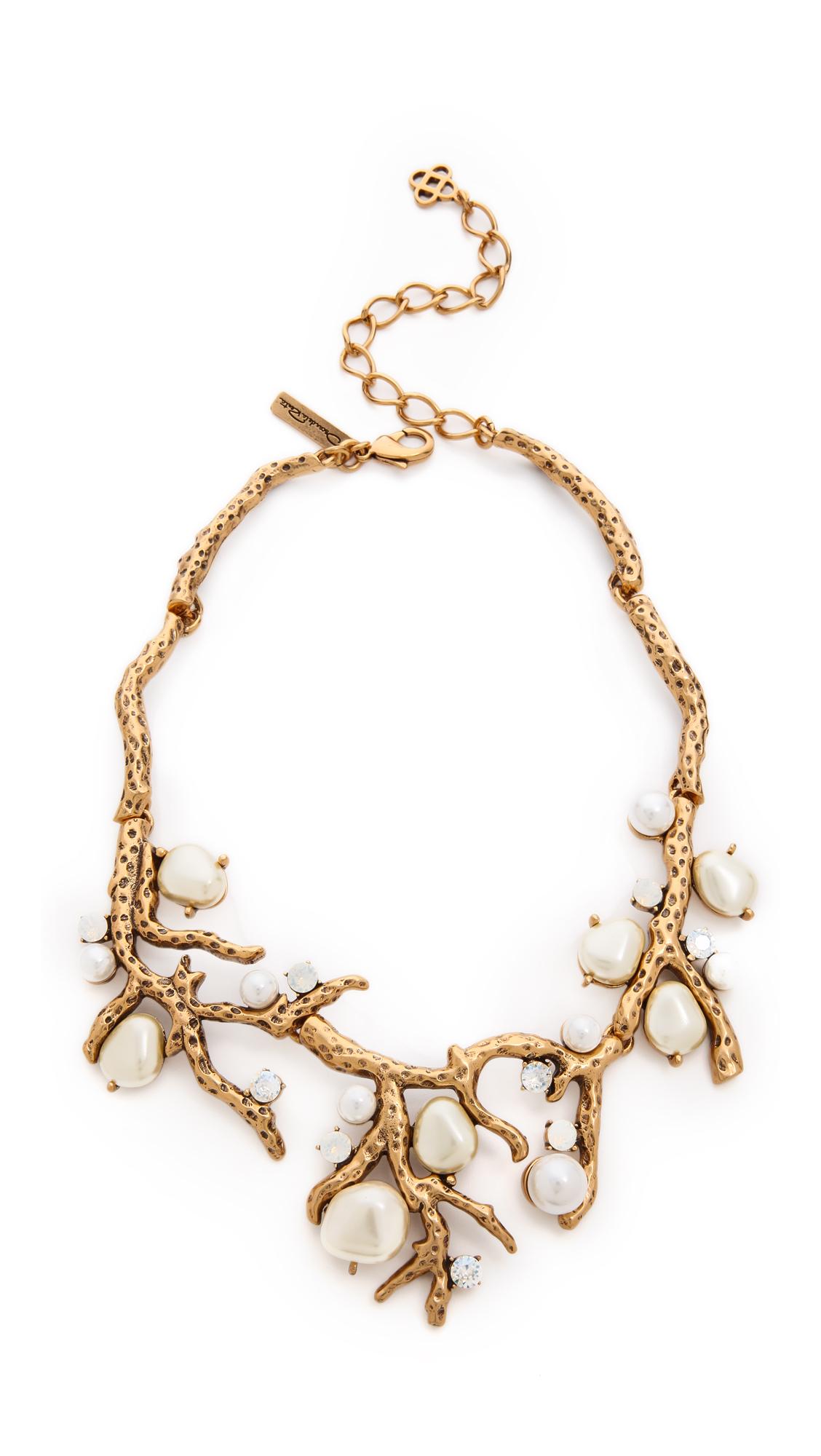 Oscar De La Renta Coral crystal necklace - Metallic FToP3H