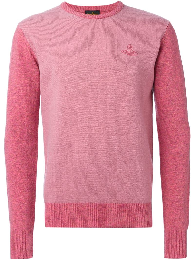 Vivienne westwood anglomania Two Tone Crew Neck Sweater in Pink ...
