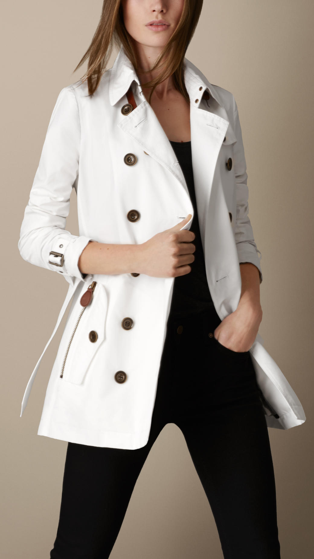 Burberry Short Leather Trim Faille Trench Coat in White | Lyst