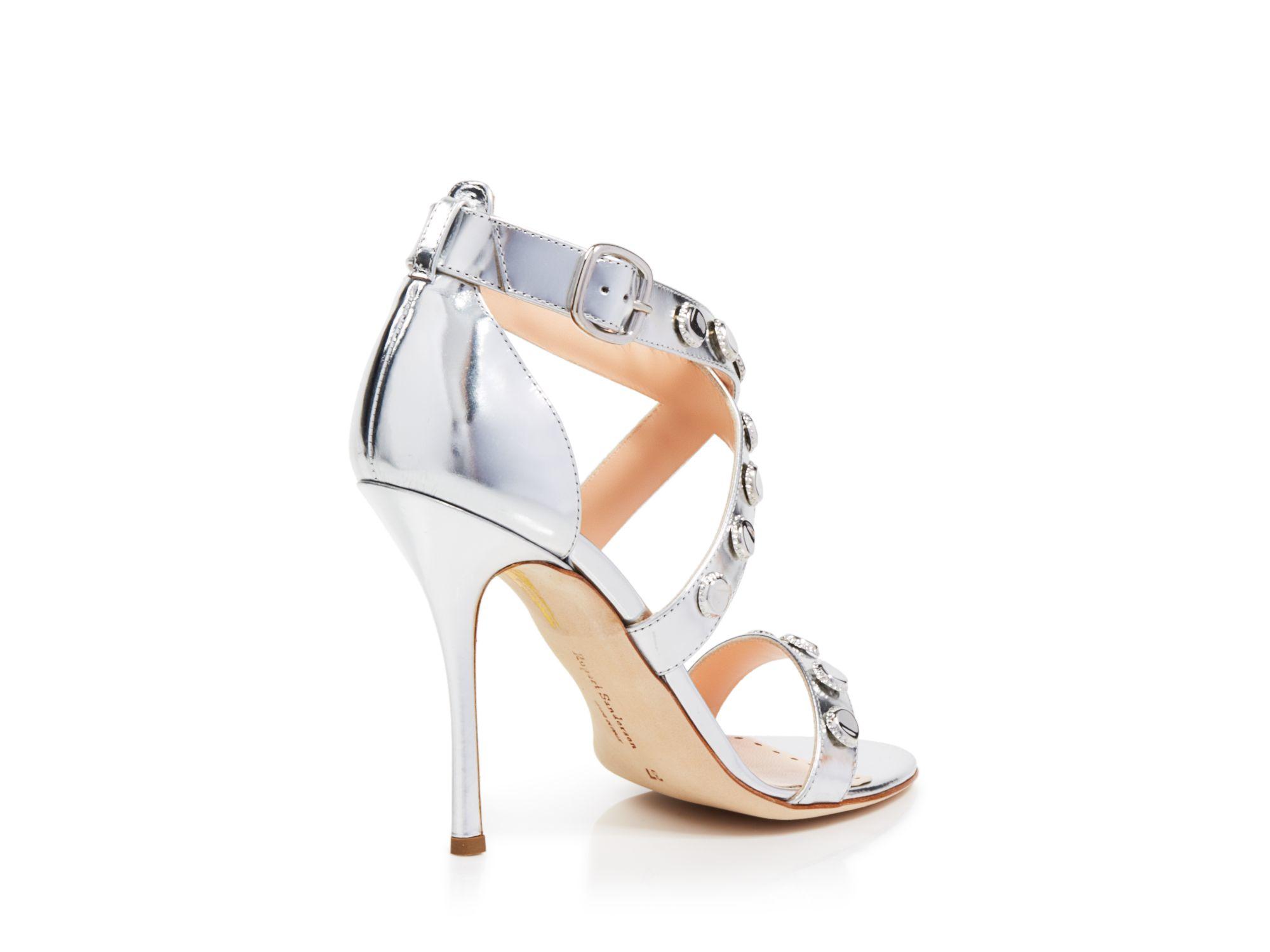 Silver Strappy Sandals High Heel