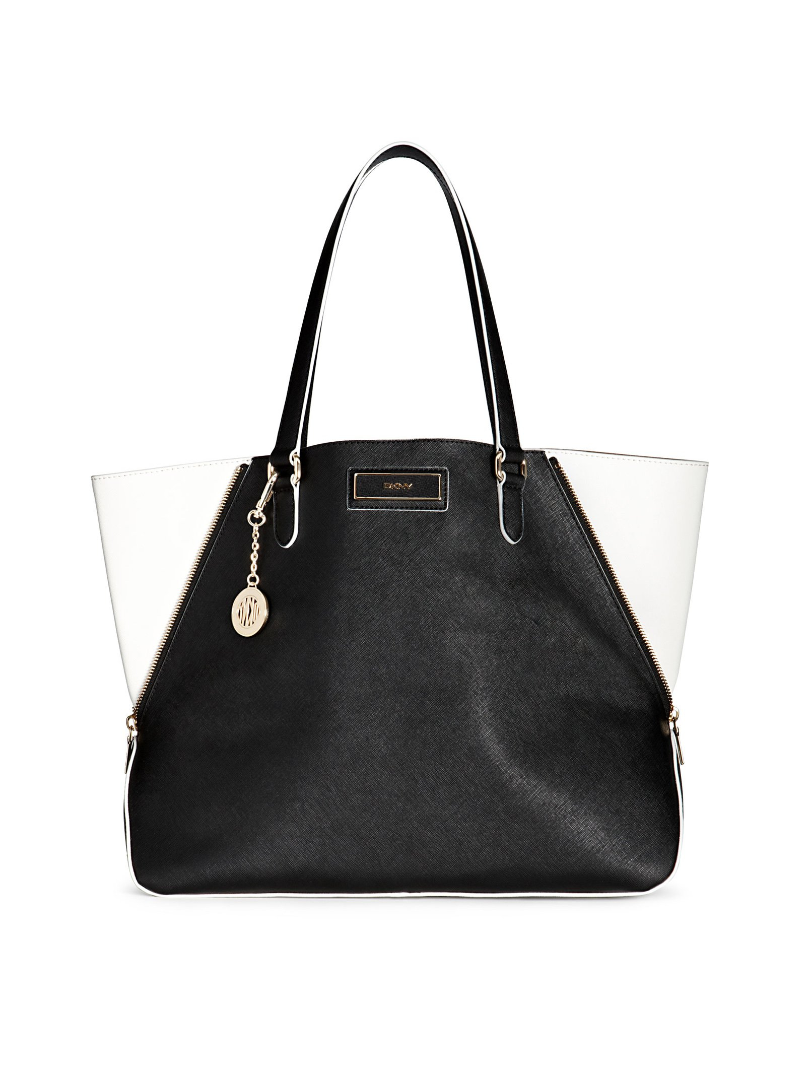 Dkny Saffiano Leather Large Zip Tote in White (BLACK-WHITE