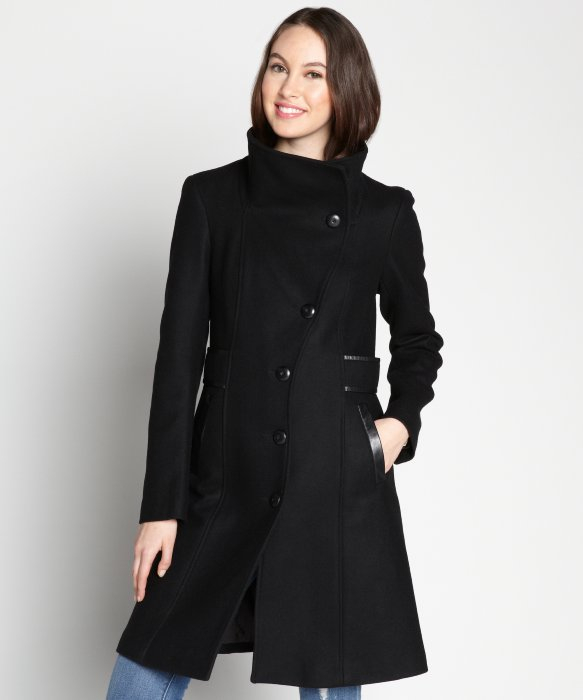 7de534b4003 ... discount code for lyst mackage black knit collar leather trim wool coat  in black be4a3 18064