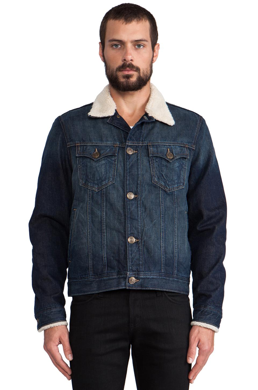 a14d8b516566d Lyst - True Religion Wayne Faux Sherpa Lined Denim Jacket in Navy in ...