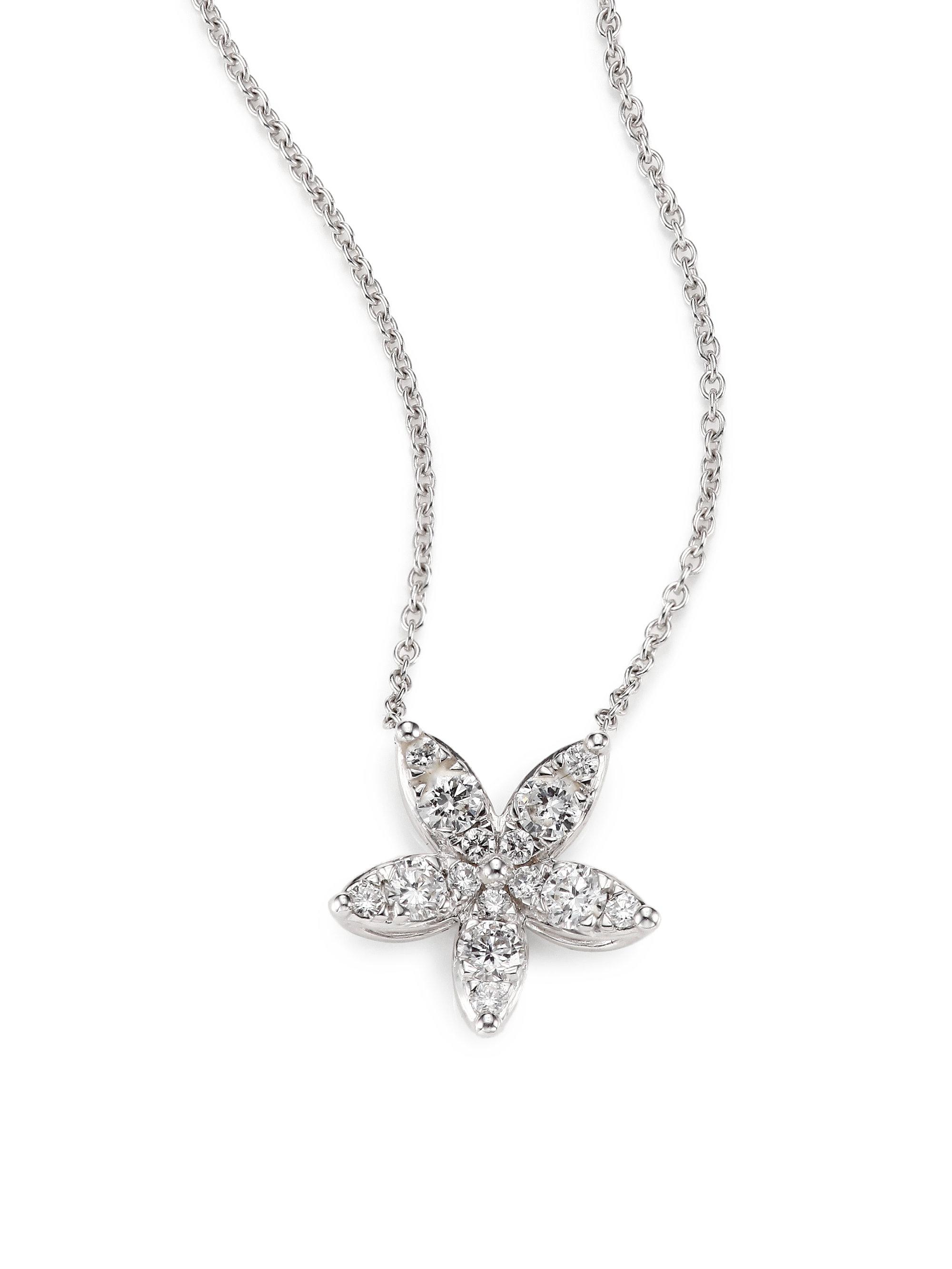Lyst kwiat sunburst diamond 18k white gold medium flower pendant gallery mightylinksfo