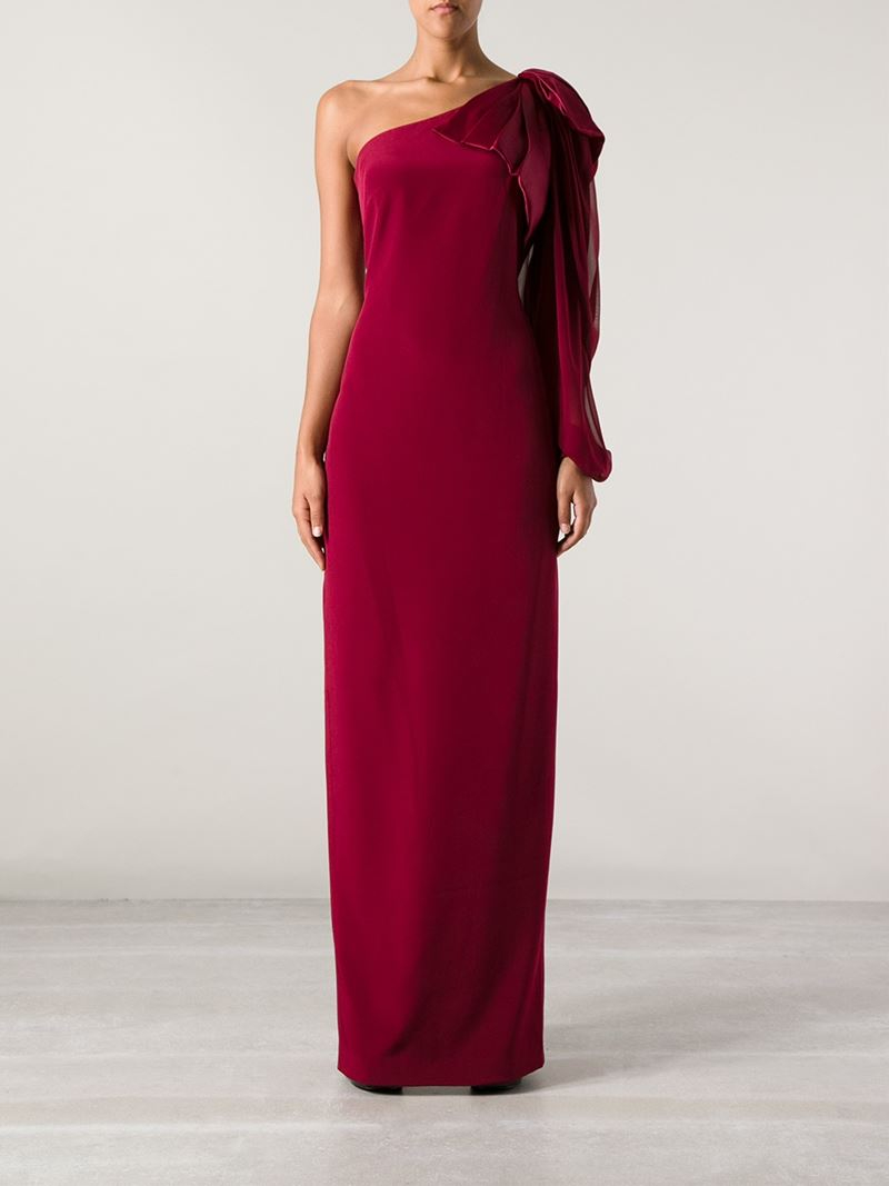 Lyst - Notte By Marchesa One Shoulder Evening Gown in Red