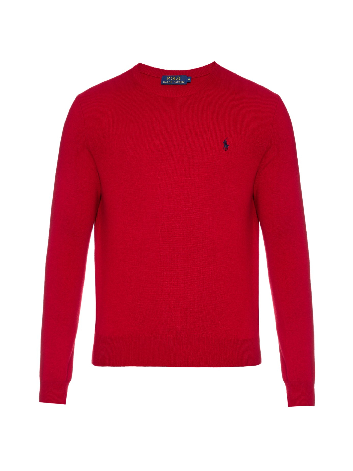 lyst polo ralph lauren crew neck long sleeved wool sweater in red for men. Black Bedroom Furniture Sets. Home Design Ideas