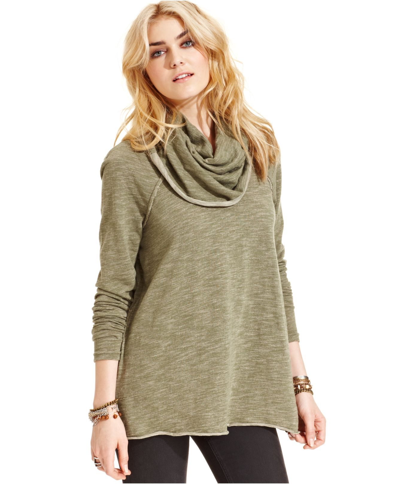 Free people Cowl-Neck Sweater in Green | Lyst