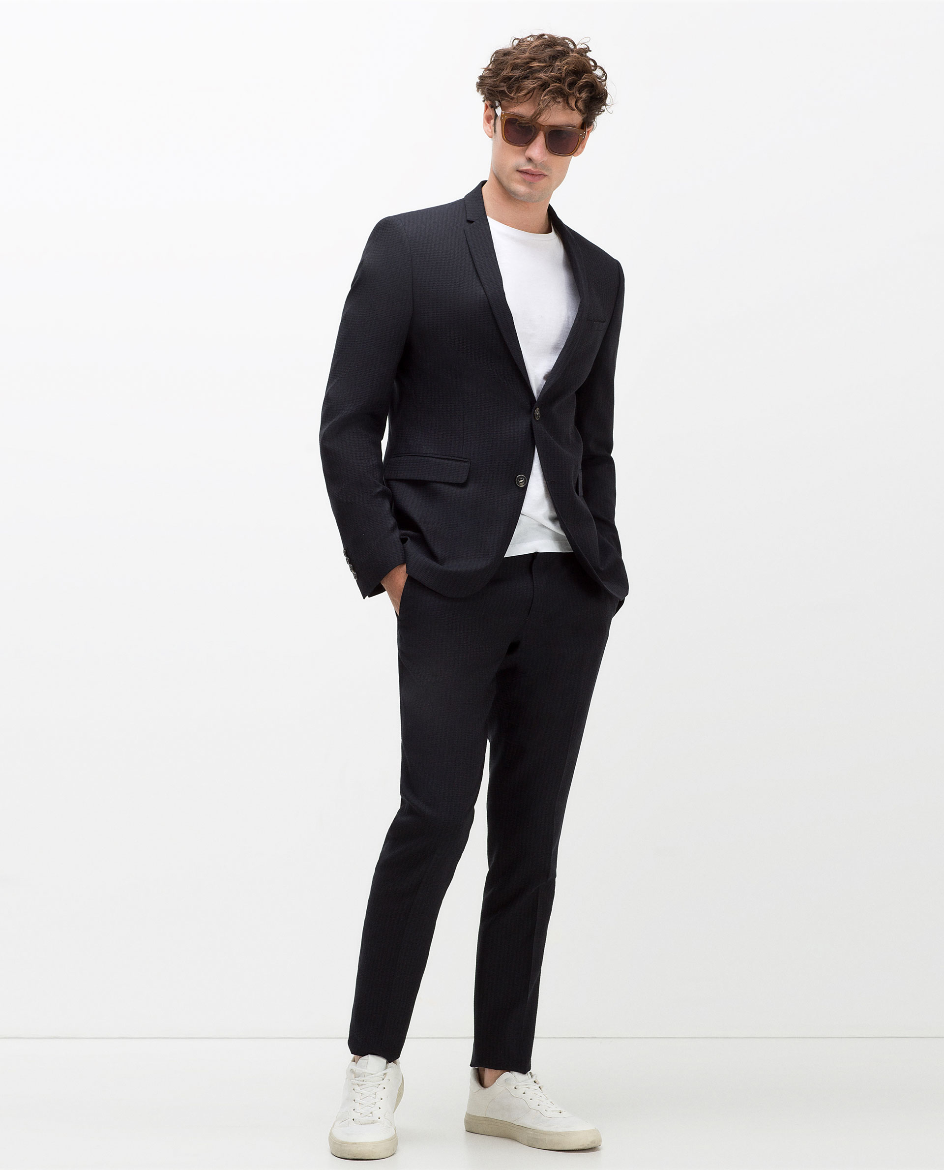 Zara Seersucker Suit Blazer in Black for Men | Lyst