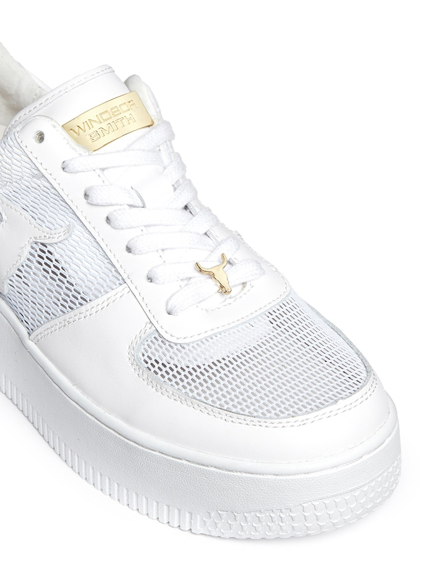 smith racemesh logo leather platform sneakers in
