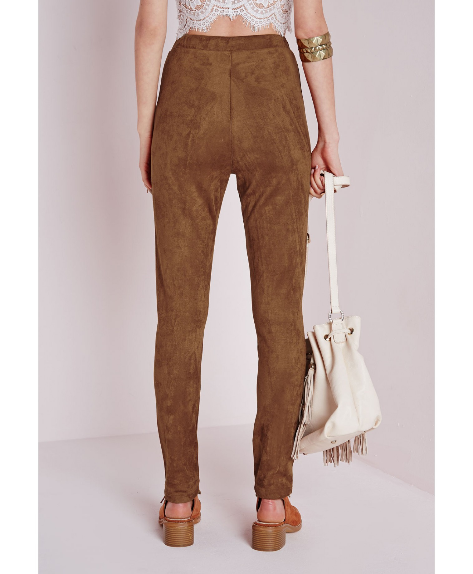 Missguided Faux Suede High Waist Leggings Tan In Brown Lyst