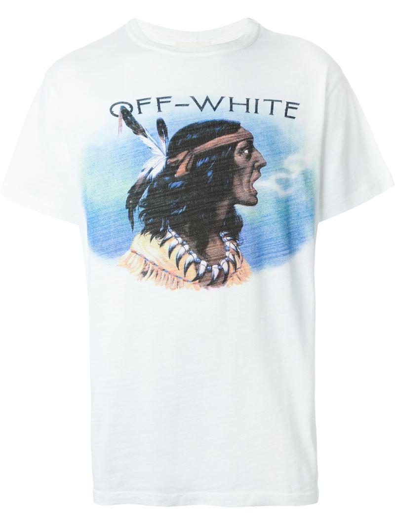 0698e571 Off-White c/o Virgil Abloh Native American Print T-shirt in Blue for ...