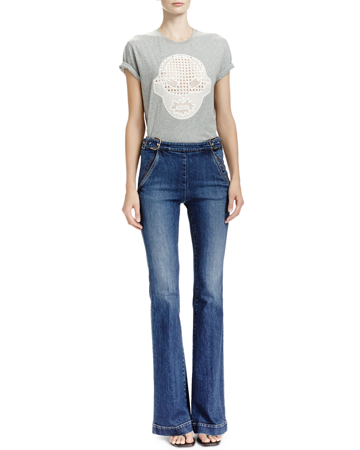 Stella mccartney Flare-leg Jeans With Side Buckles in Blue | Lyst