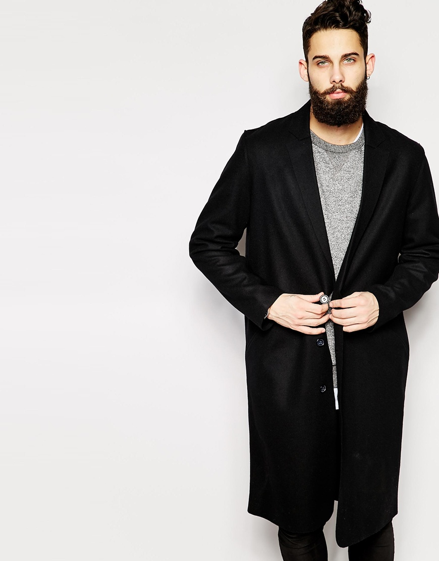 319f226aa8a Lyst - ASOS Wool Overcoat With Raw Edges in Black for Men