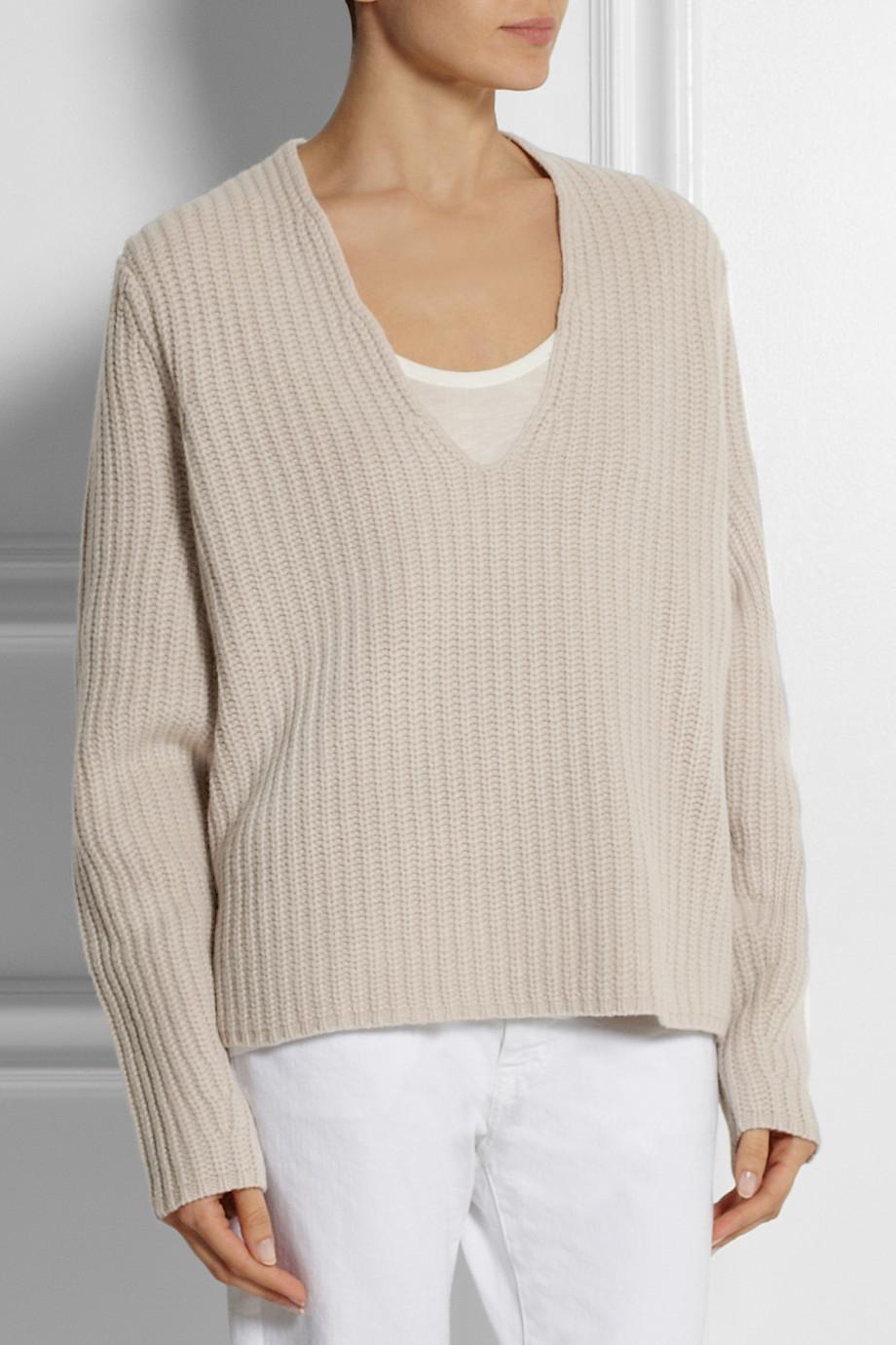 Acne studios Deborah Oversized Ribbed Wool Sweater in White | Lyst