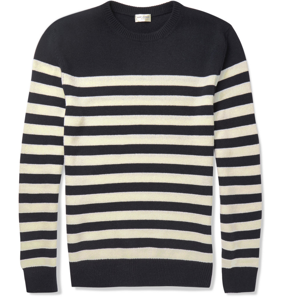 Saint laurent Striped Cashmere Sweater in Blue for Men | Lyst
