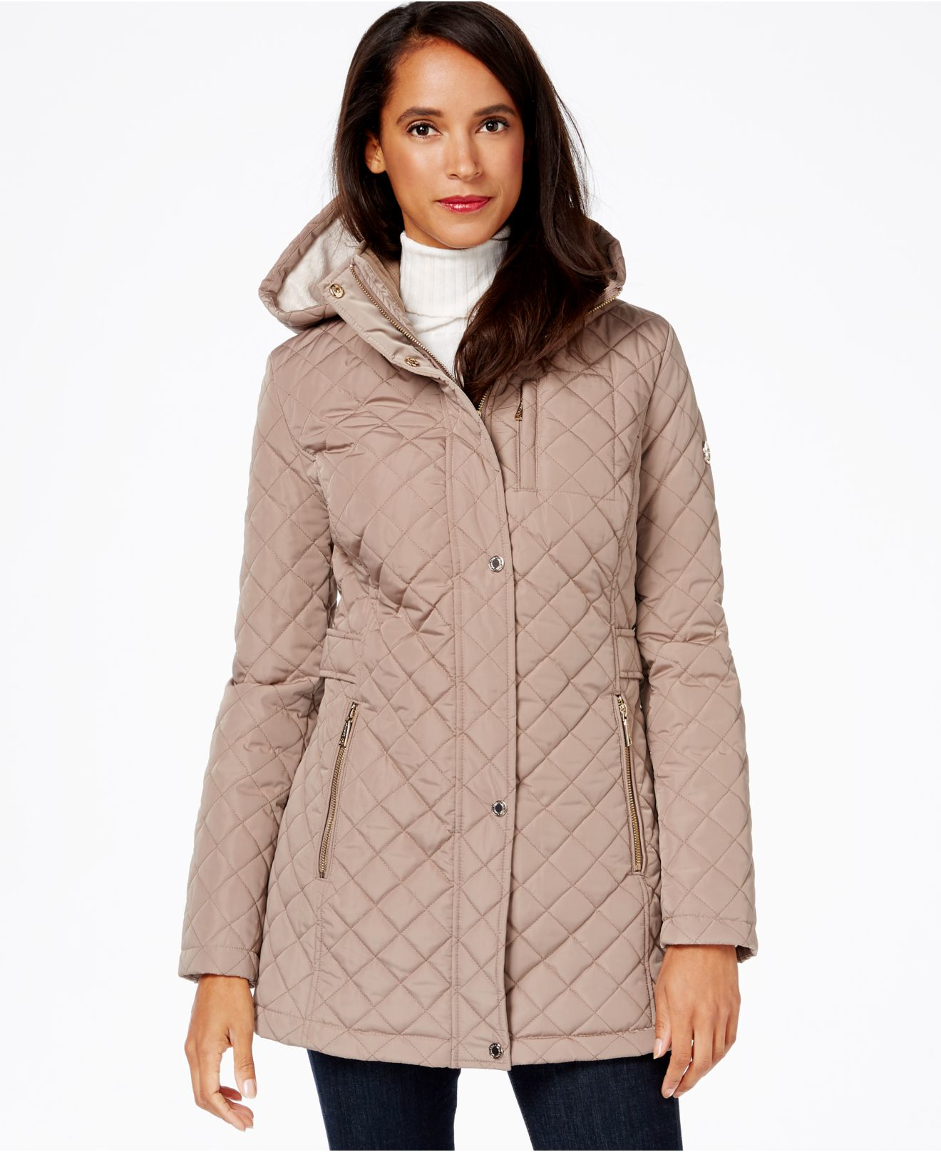 Lyst - Calvin klein Hooded Quilted Jacket in Gray : quilted hooded jacket - Adamdwight.com