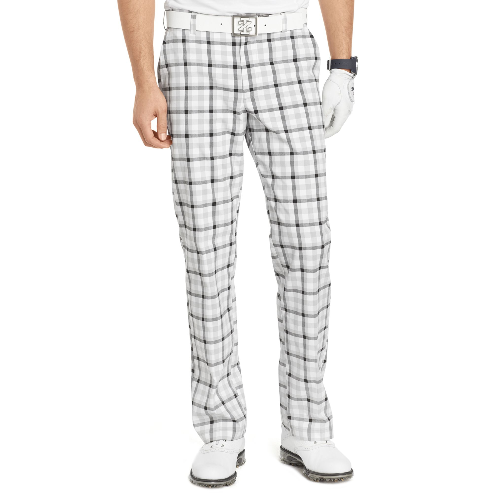 Izod Flat Front Plaid Golf Pants in Gray for Men | Lyst