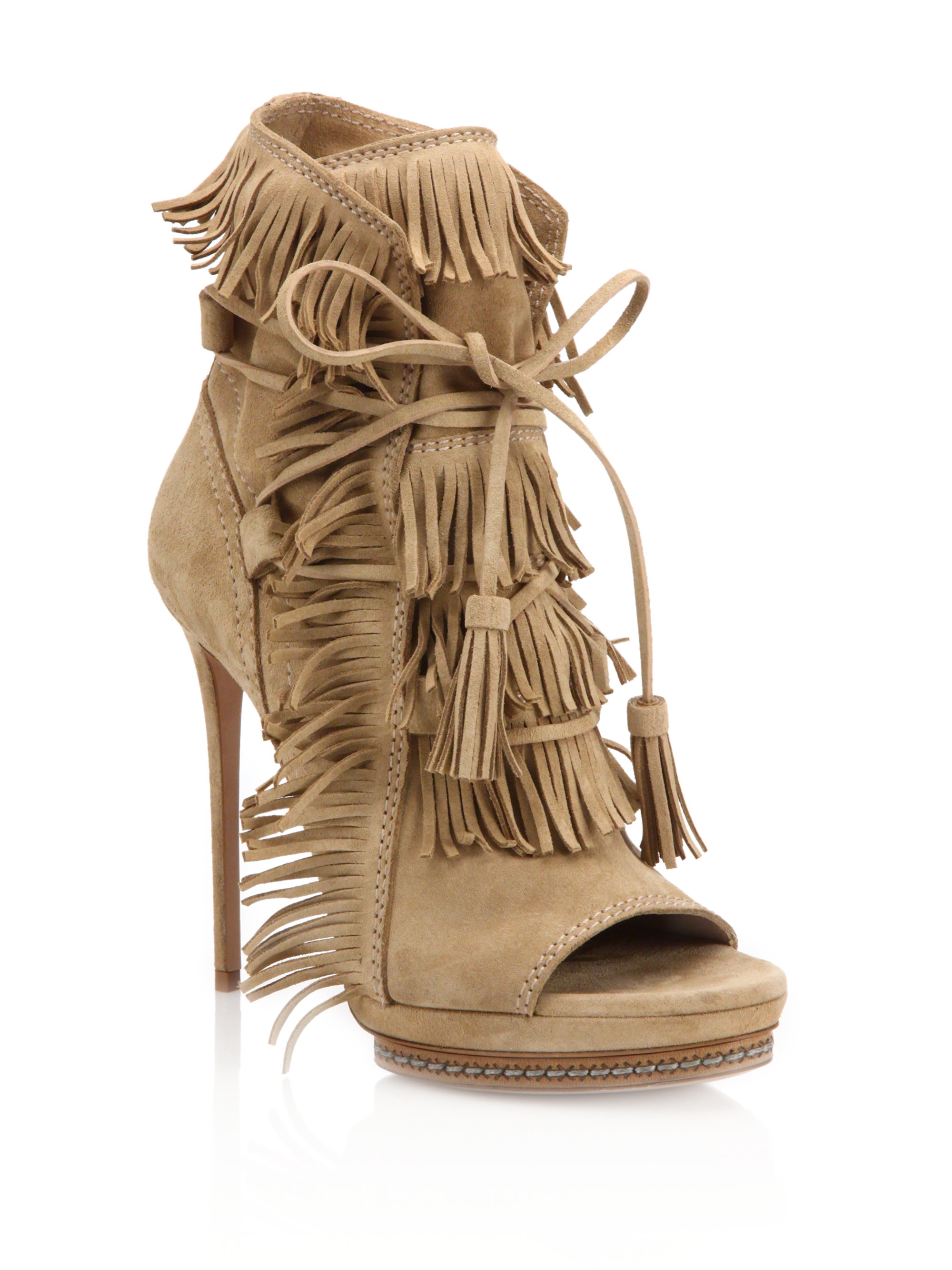 76e0b135024 Lyst - Casadei Fringed Suede Peep-toe Booties in Natural