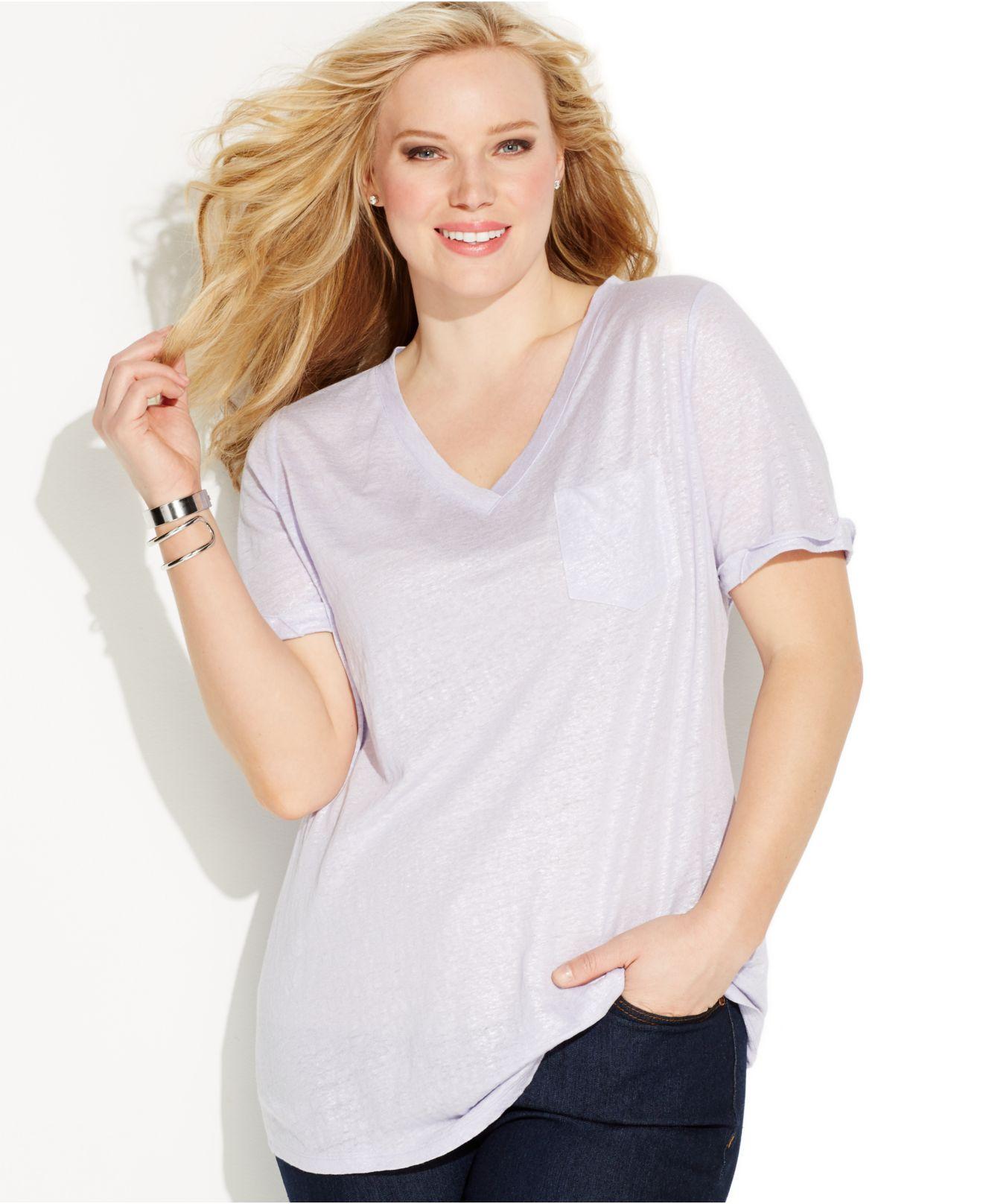 Inc International Concepts Plus Size V-neck Linen Shimmer