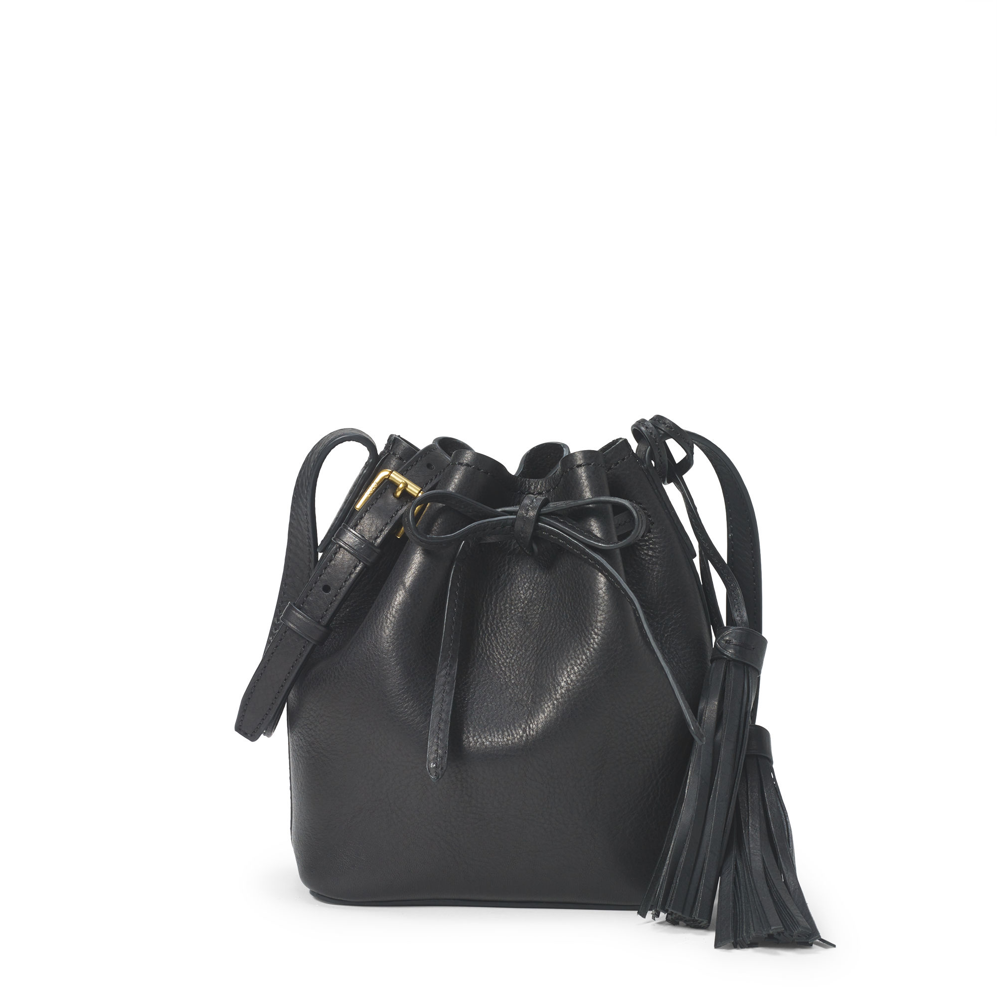1b71d0d3ffe1 Polo Ralph Lauren Mini Leather Bucket Bag in Black - Lyst