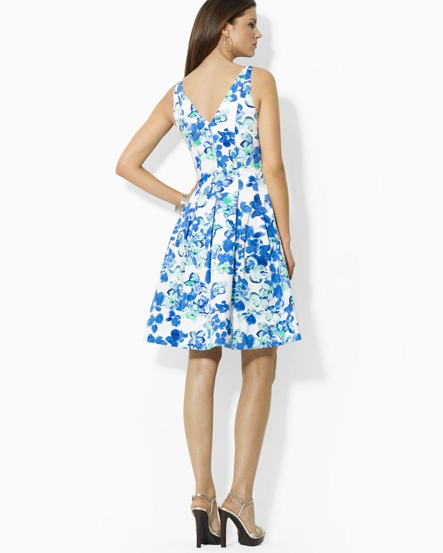 Lyst ralph lauren lauren dress refreshing floral print in blue gallery izmirmasajfo