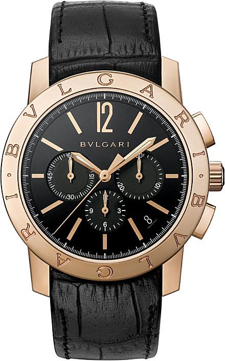 bvlgari velocissimo 18ct gold and alligator leather