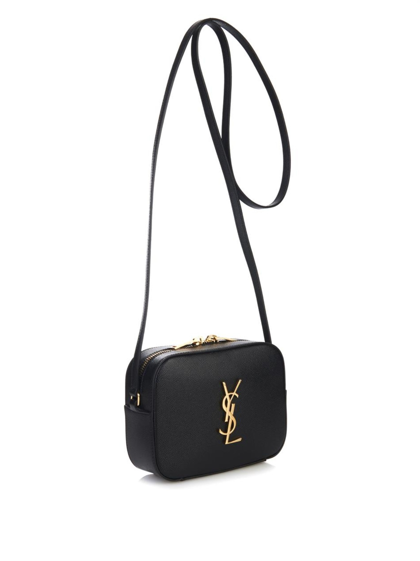 cd88dc5aab35 Saint Laurent Monogram Camera Leather Cross-Body Bag in Black - Lyst