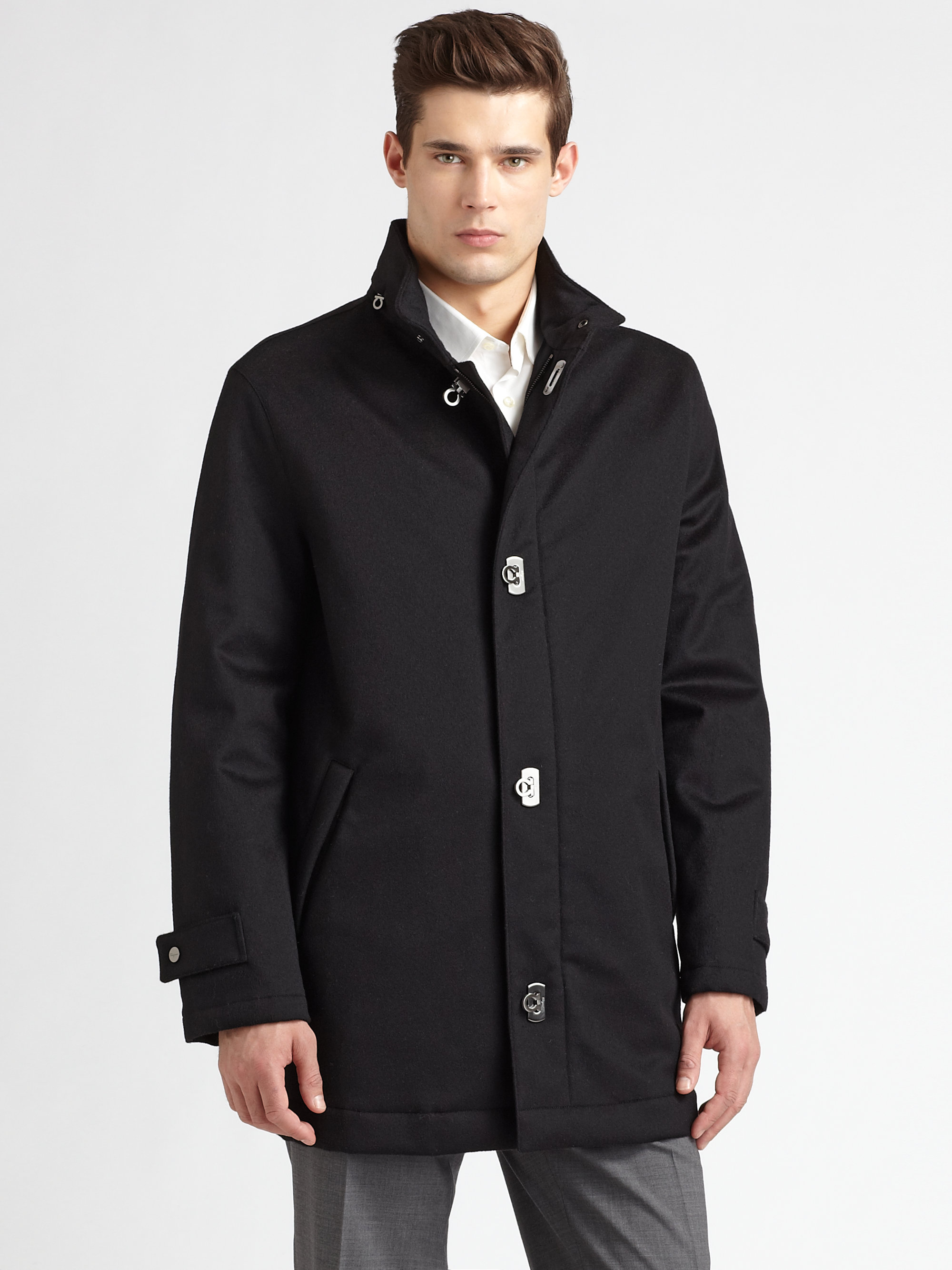 Ferragamo Wool/cashmere Car Coat in Black for Men | Lyst