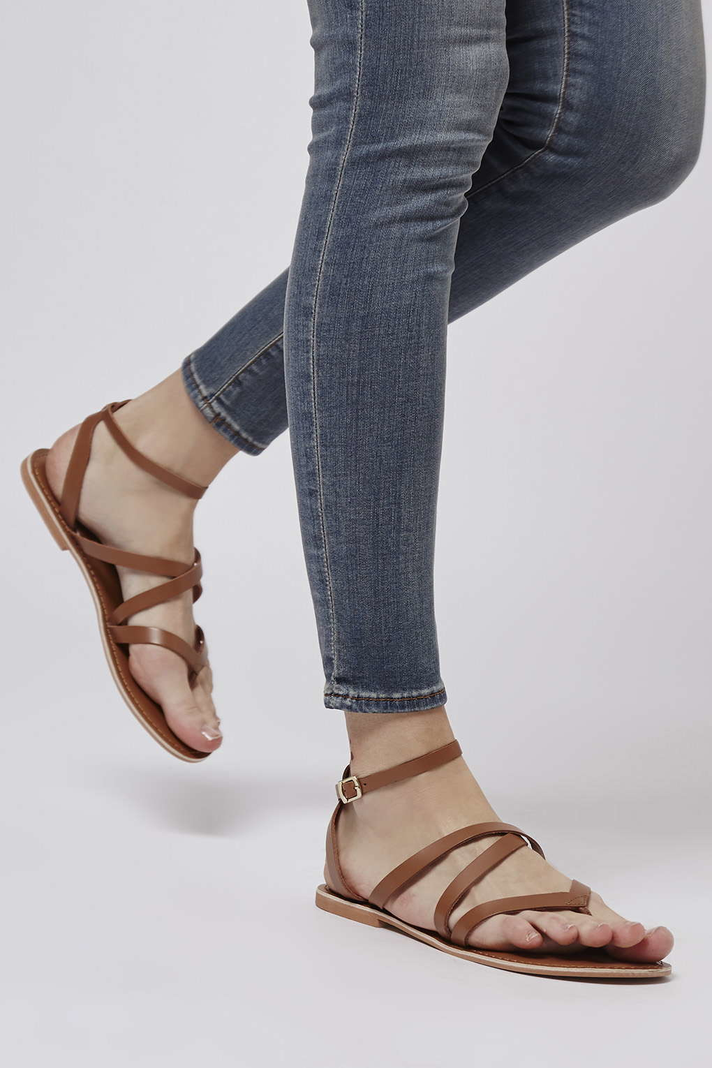 Lyst Topshop Hercules Strappy Leather Sandals In Brown