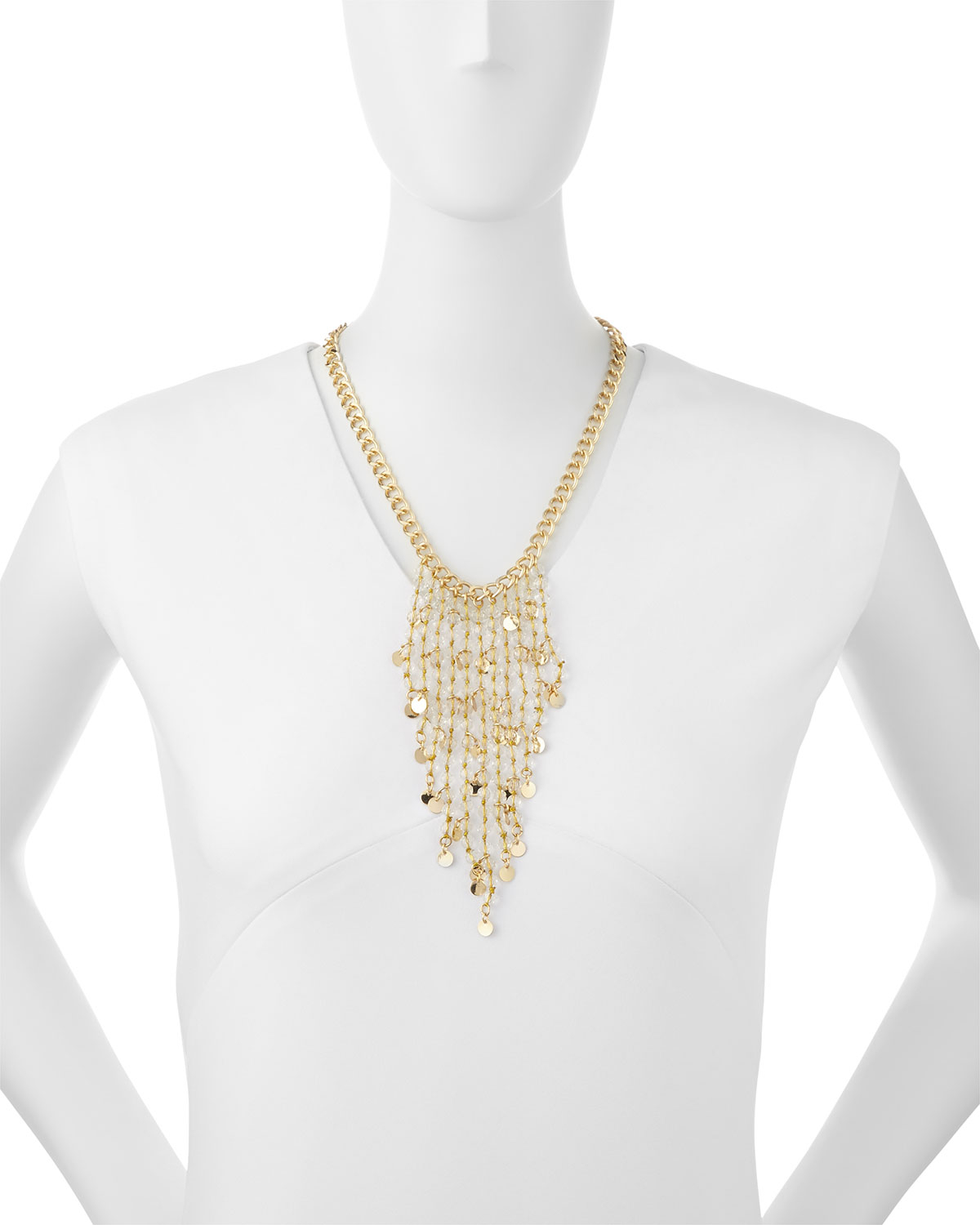 fragments beaded waterfall fringe necklace in metallic lyst