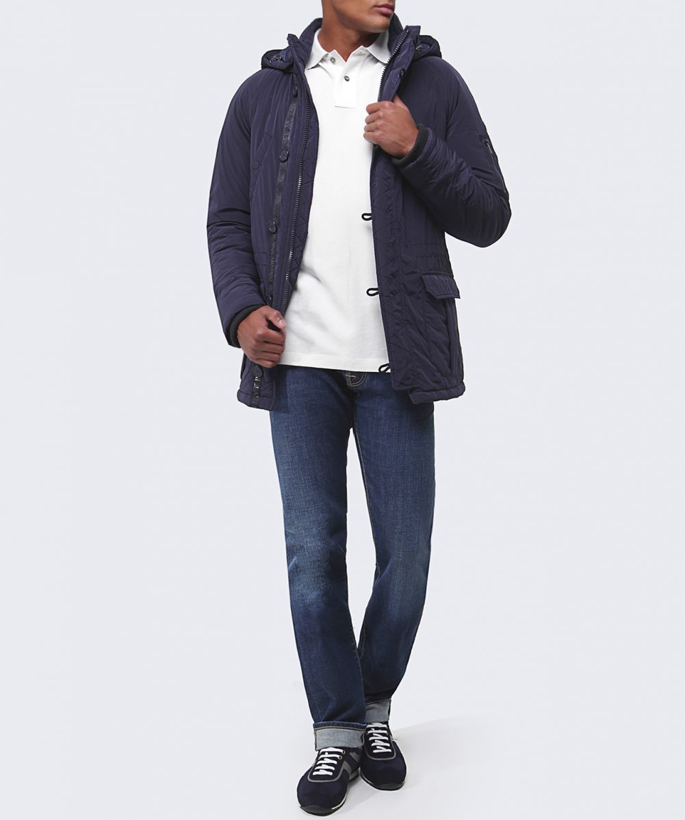 armani quilted caban coat in blue for navy lyst