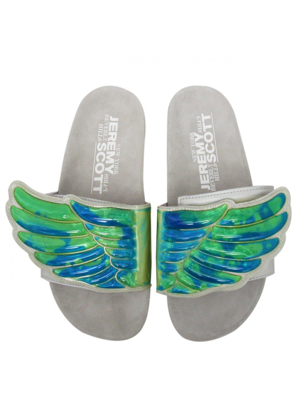 12e9c885bc57 Jeremy Scott for adidas Gel Wings Adilette Flip Flops Greygreenblue ...