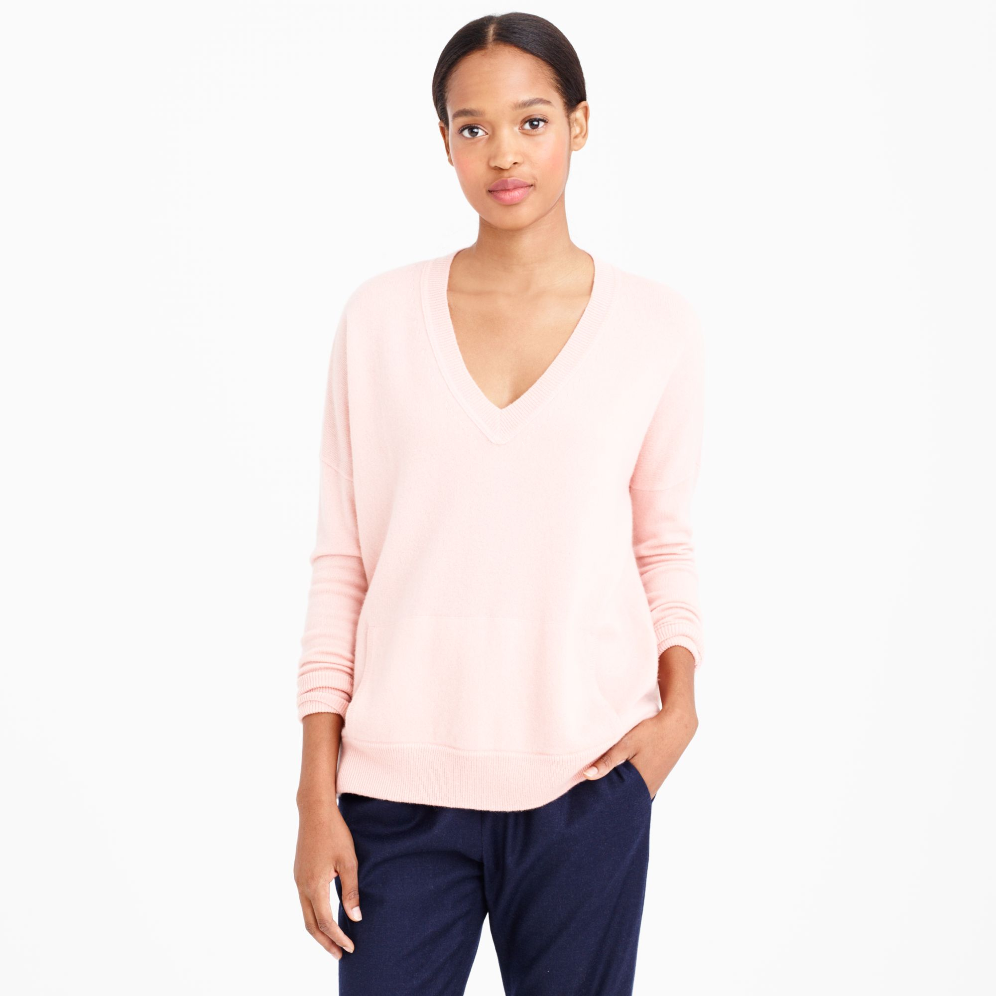 J.crew Collection Cashmere V-neck Pocket Sweater in Pink | Lyst