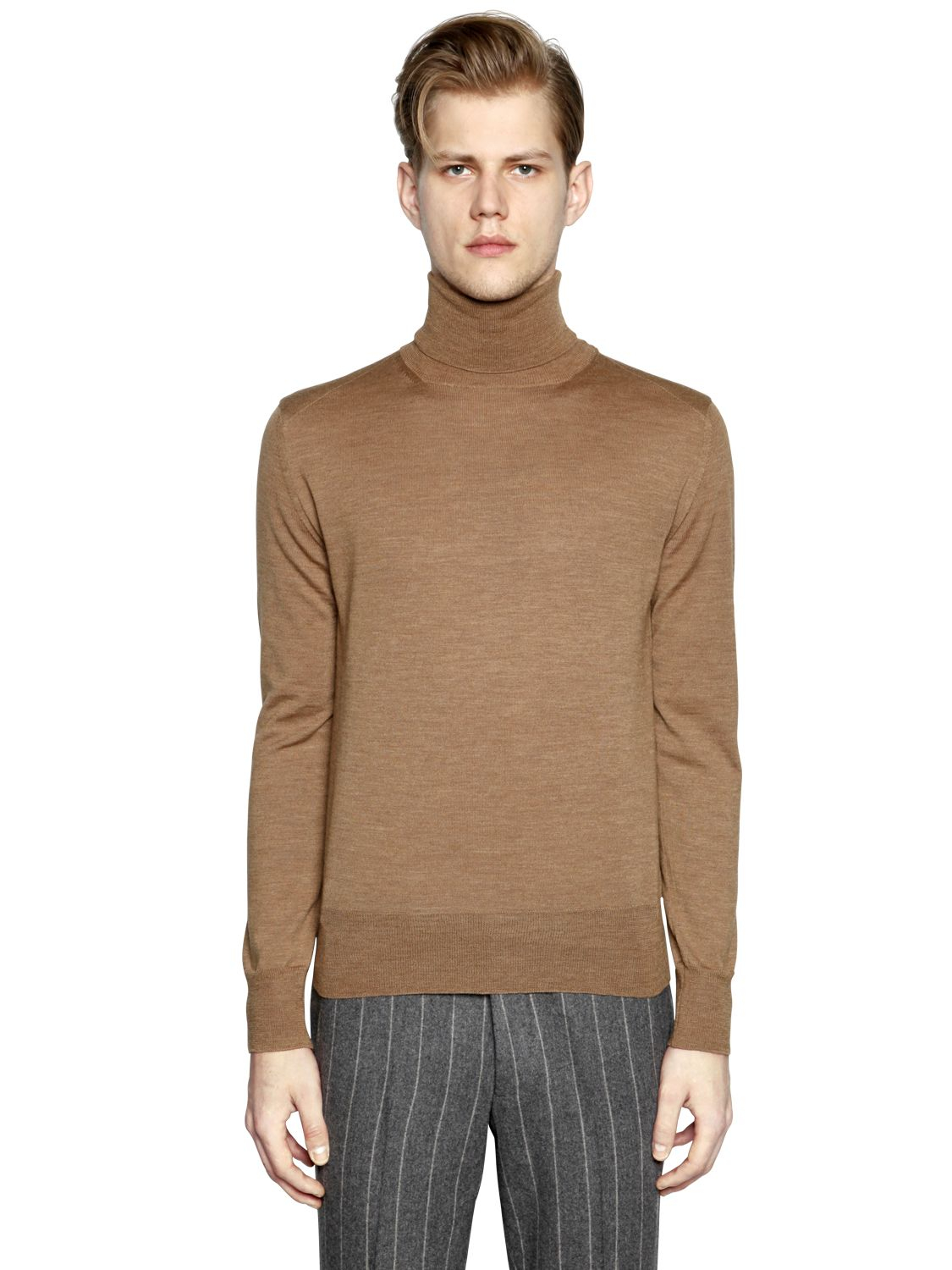 Boglioli Ribbed Wool Turtleneck Sweater in Natural for Men | Lyst