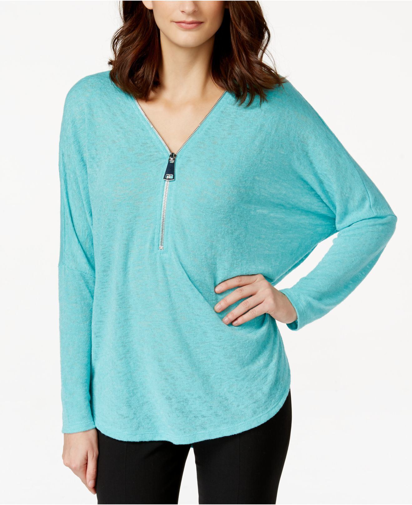 f01baec4d3b0df Lyst - Alfani Dolman-sleeve Zip-front Top in Blue