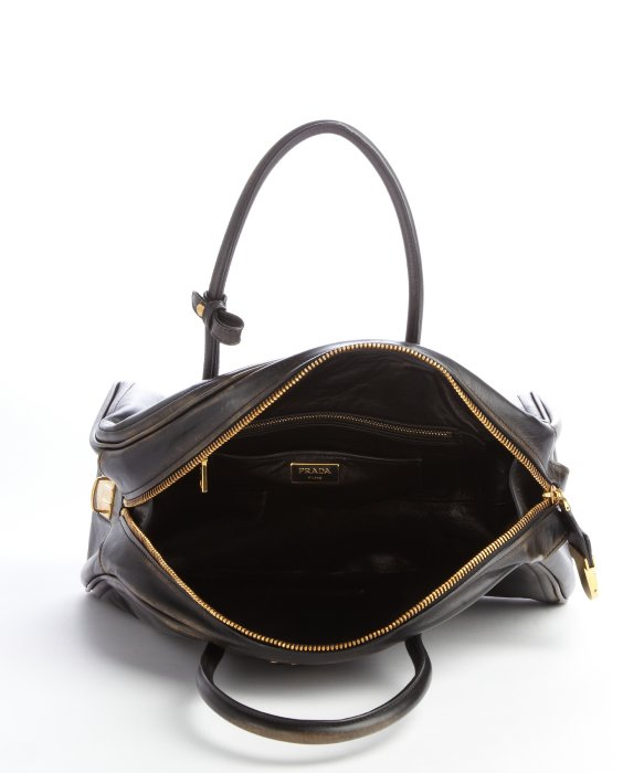 Prada Black Distressed Leather Bowler Bag in Black | Lyst
