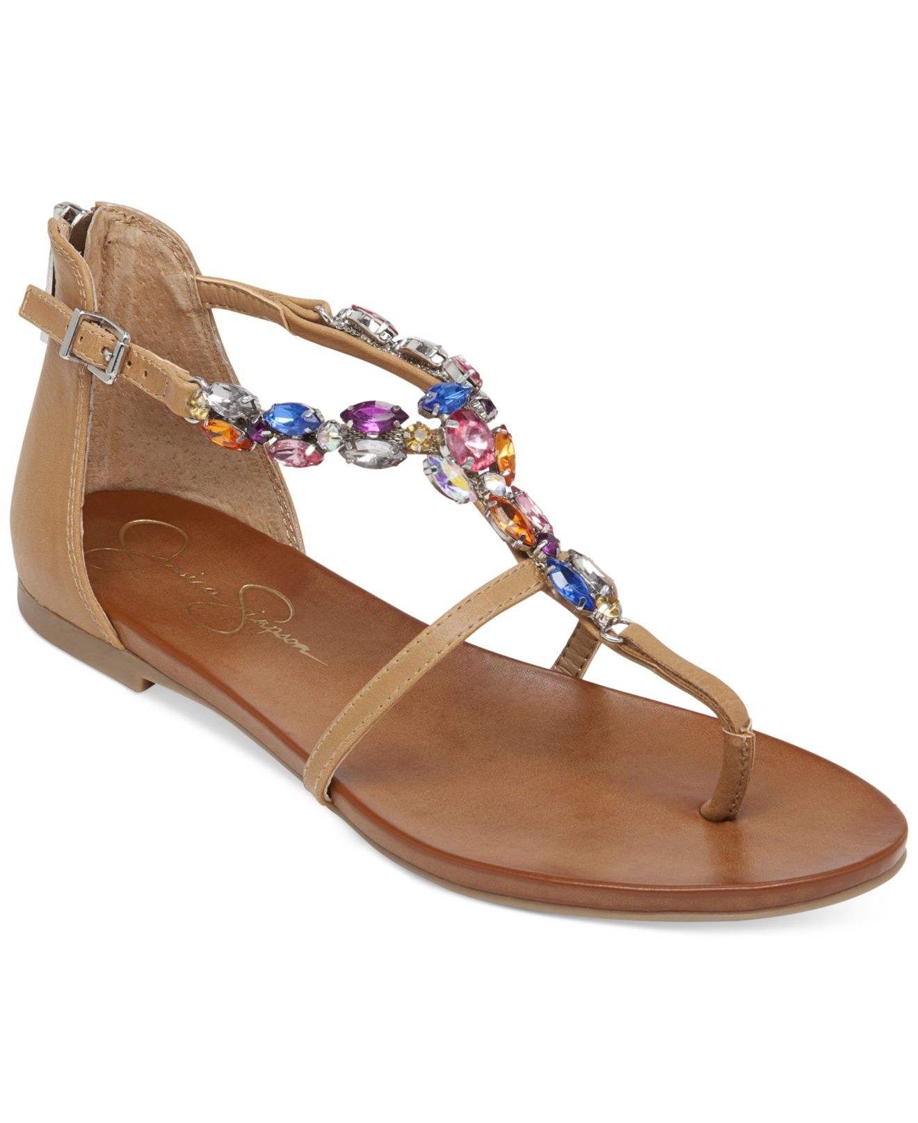 1f30d89f7 Jessica Simpson Whitten Jeweled Flat Thong Sandals in Brown - Lyst