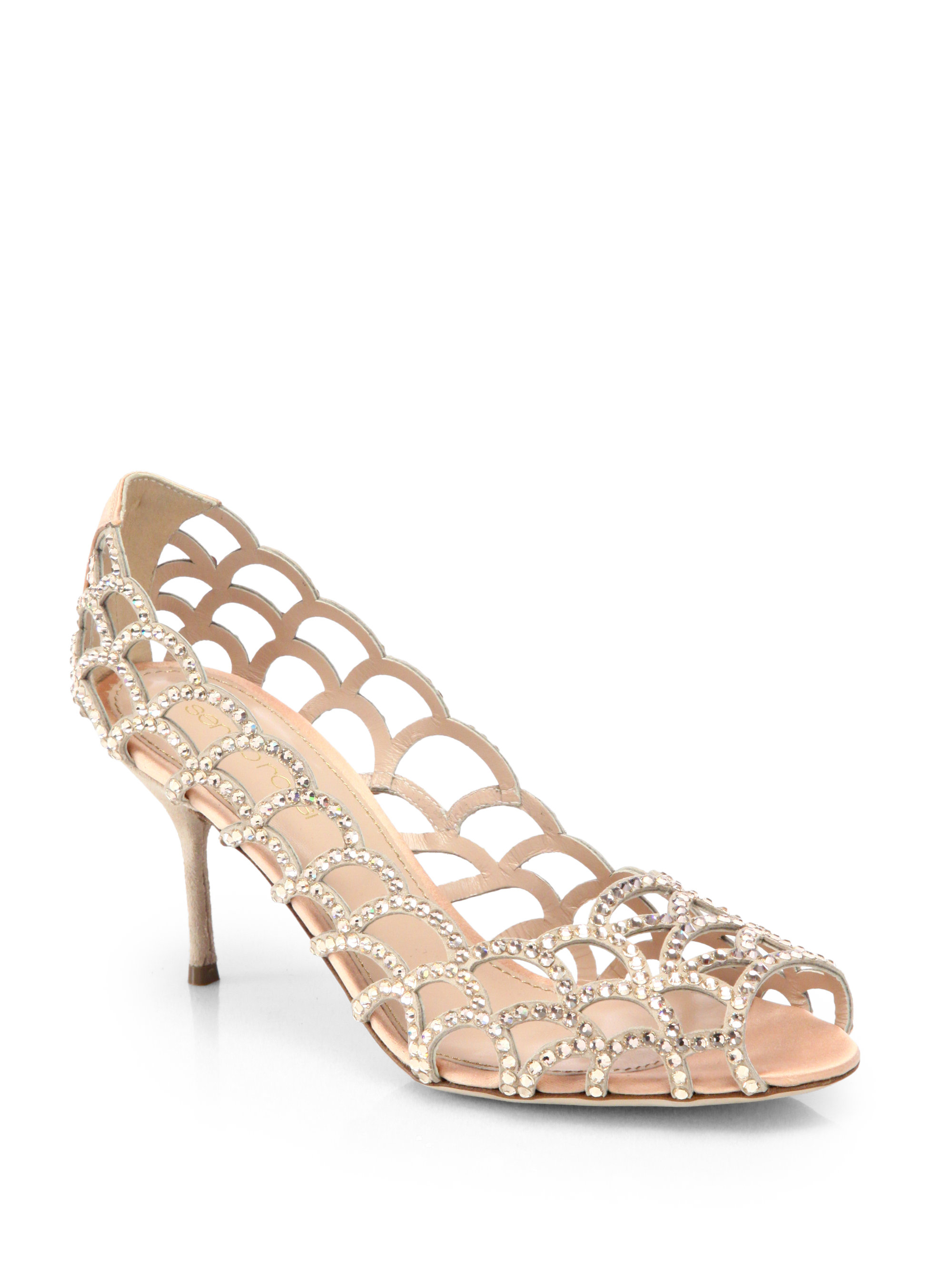 2477bf10547d Lyst - Sergio Rossi Crystalcoated Mermaid Pumps in Natural