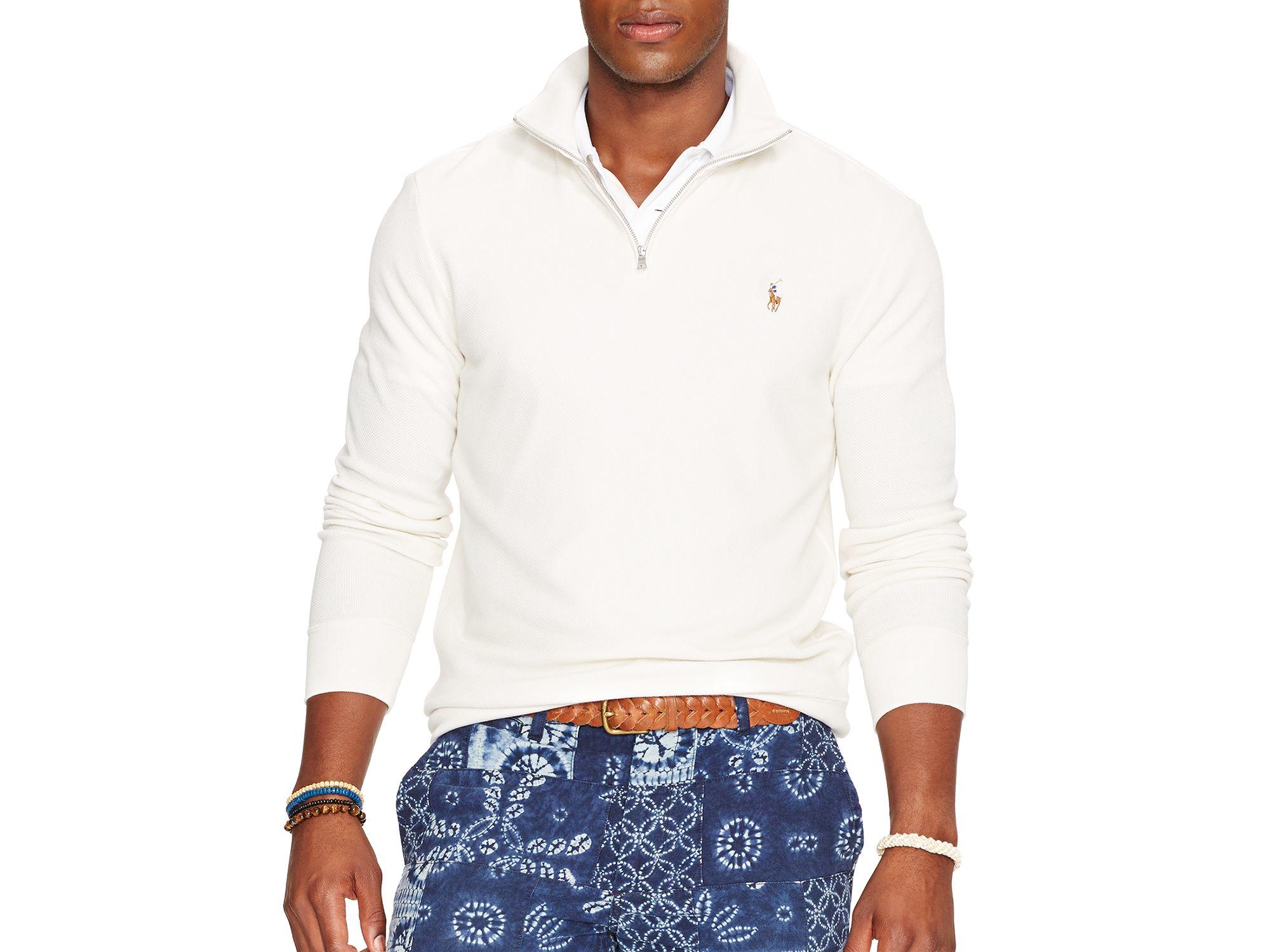 ralph lauren polo half zip pima mockneck pullover in white for men. Black Bedroom Furniture Sets. Home Design Ideas