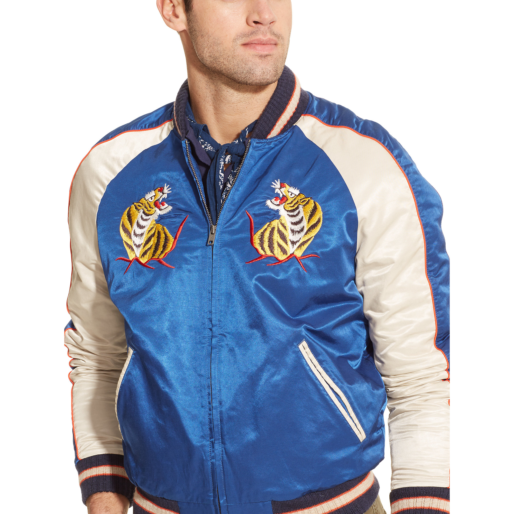 Lyst polo ralph lauren hawaiian tour baseball jacket in for The tour jacket polo shirt