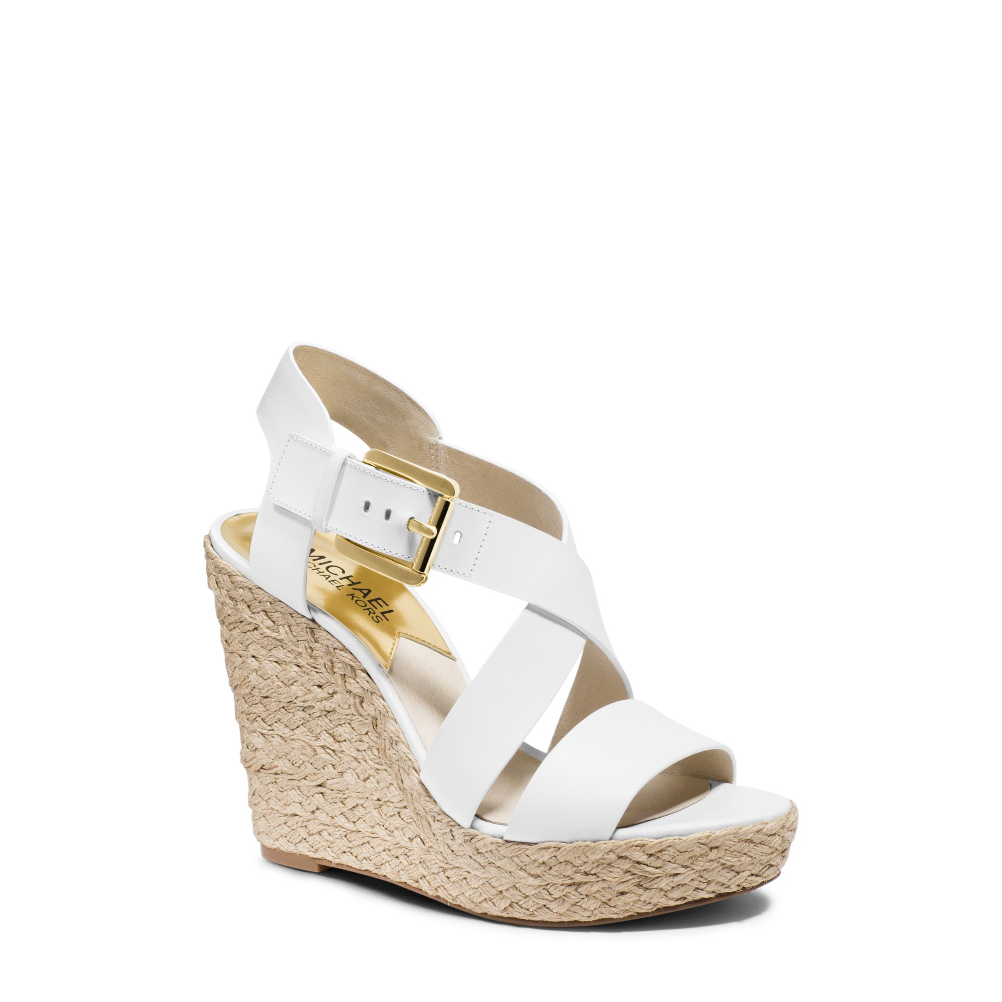 aa60ac629a4 Lyst - Michael Kors Giovanna Leather Espadrille Wedge Sandal in White
