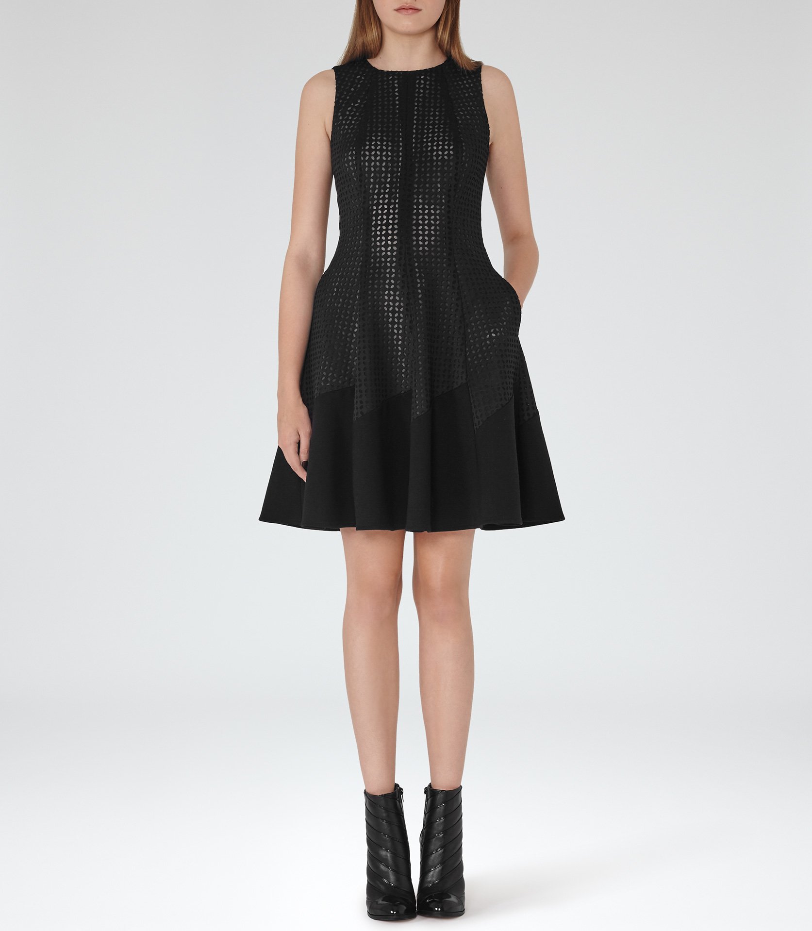 Lyst Reiss Pinot Cut Out Fit And Flare Dress In Black