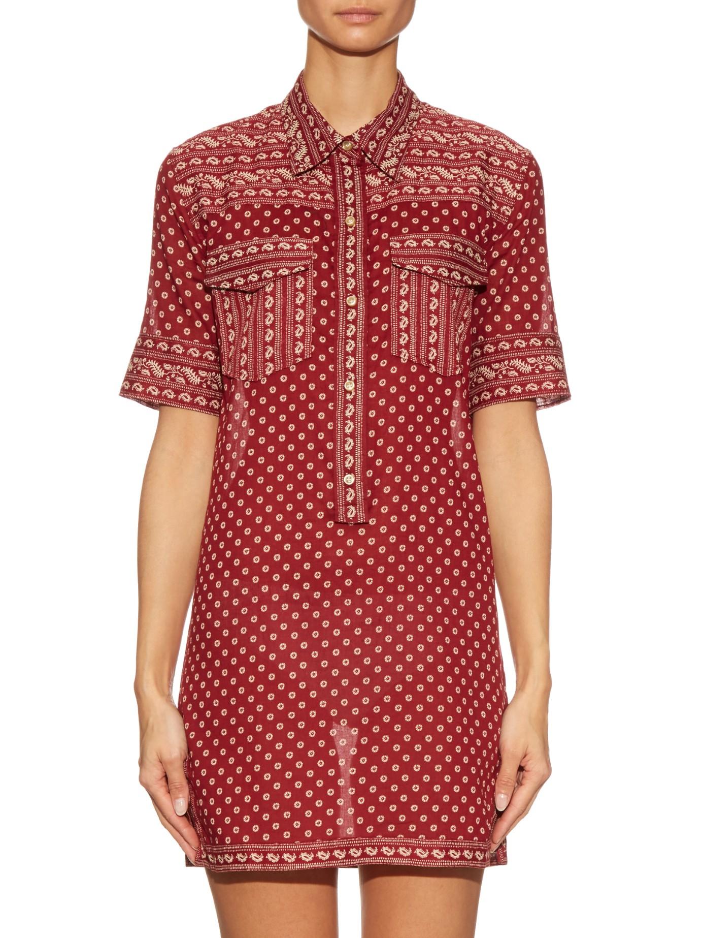 Toile isabel marant lexine bandana print cotton shirt for Isabel marant shirt dress