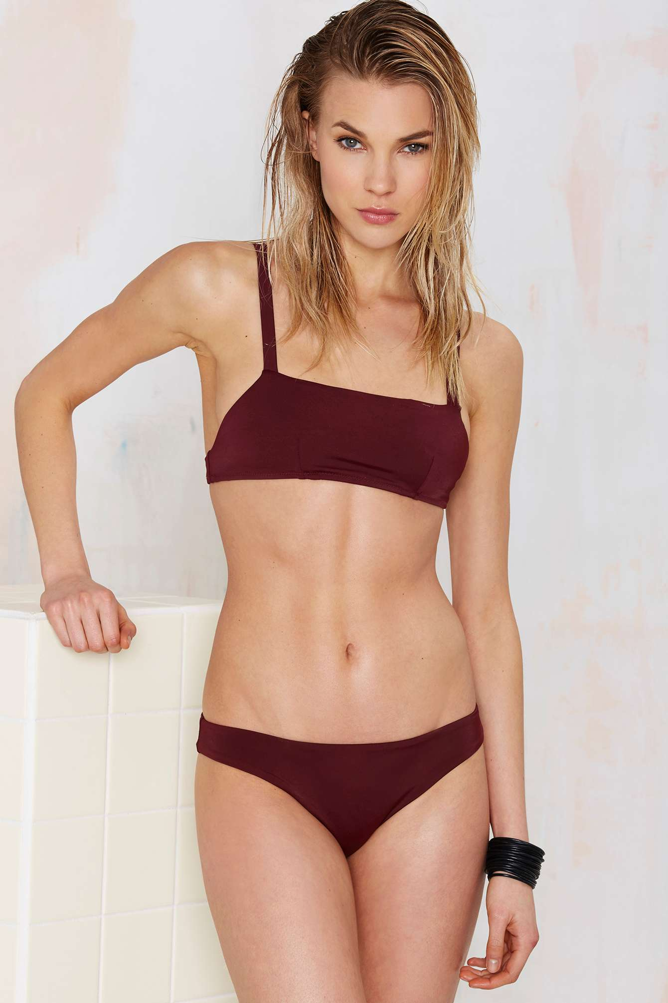 e3b6f092e1183 Lyst - Nasty Gal Damn Straight Bikini Top - Burgundy in Red
