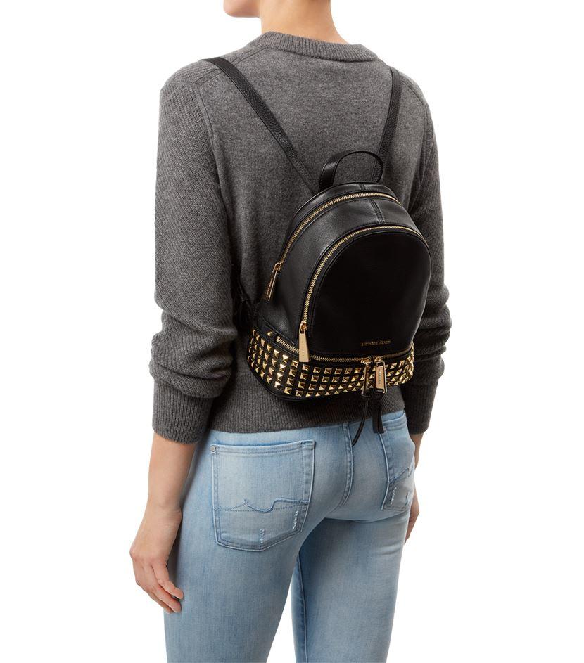 845295ec5ebc ... norway michael michael kors rhea studded backpack in metallic lyst  3375a 6b86f