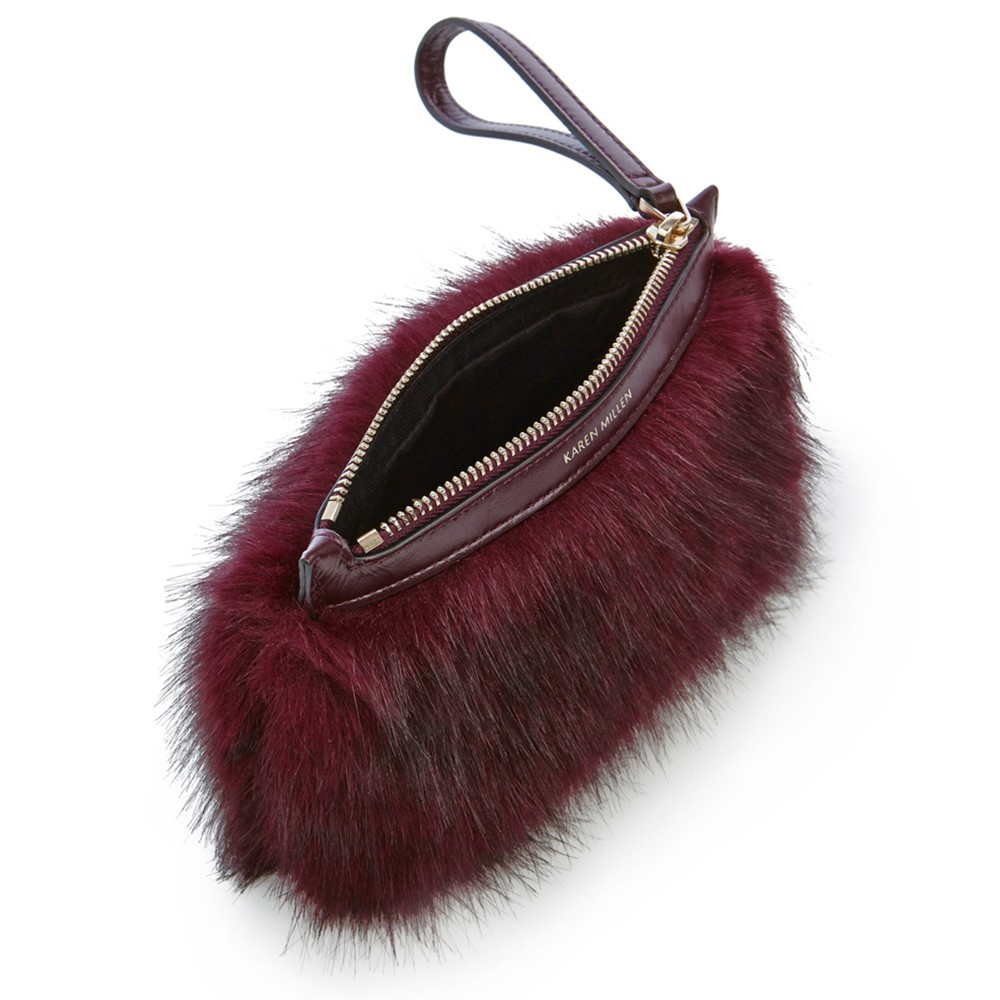 4318f95fec4 Karen Millen Faux Fur Pochette Clutch Bag in Red - Lyst