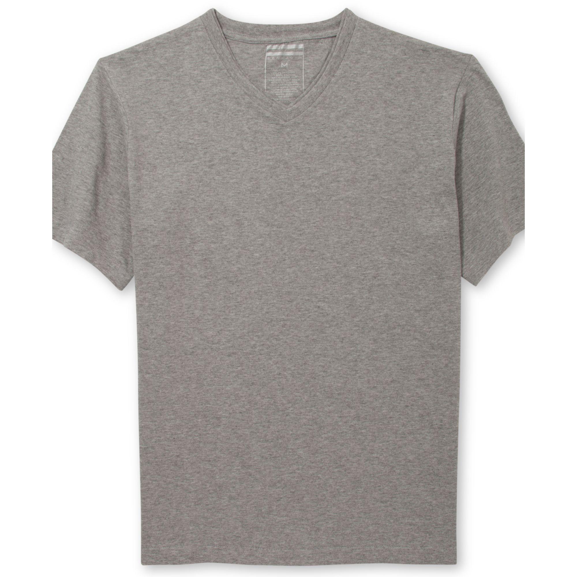 sean john solid v neck t shirt in gray for men grey mix